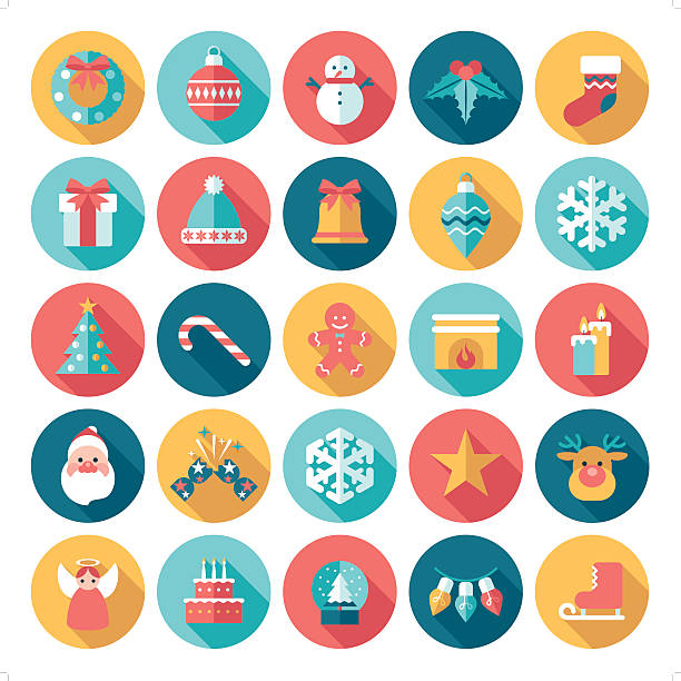 christmas icon A set of 25 christmas icon set. Each icon is grouped individually. christmas icons stock illustrations