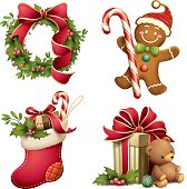 illustration of christmas wreath, gingerbread man, christmas stocking and gift with teddy bear