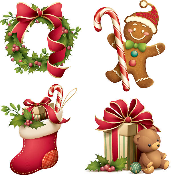 stockillustraties, clipart, cartoons en iconen met christmas iconographic's set - speculaas