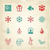 Set of 16 Christmas icons and symbols. EPS 10 file.