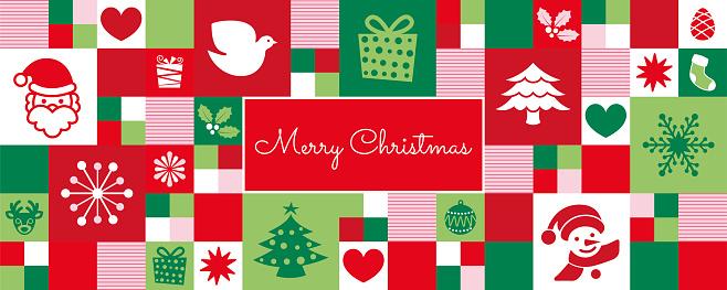 Christmas icons banner/greeting card