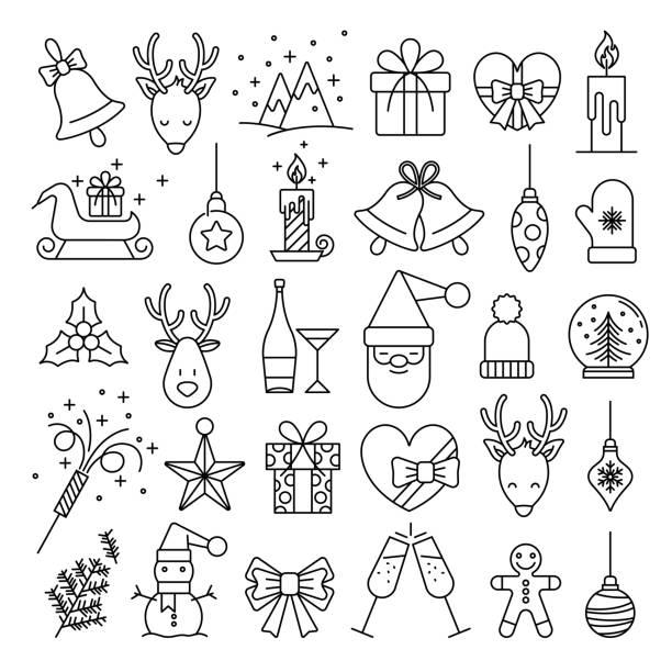 Christmas Icons - Big Line Series stock illustration Christmas Icons - Big Line Series stock illustration christmas icons stock illustrations