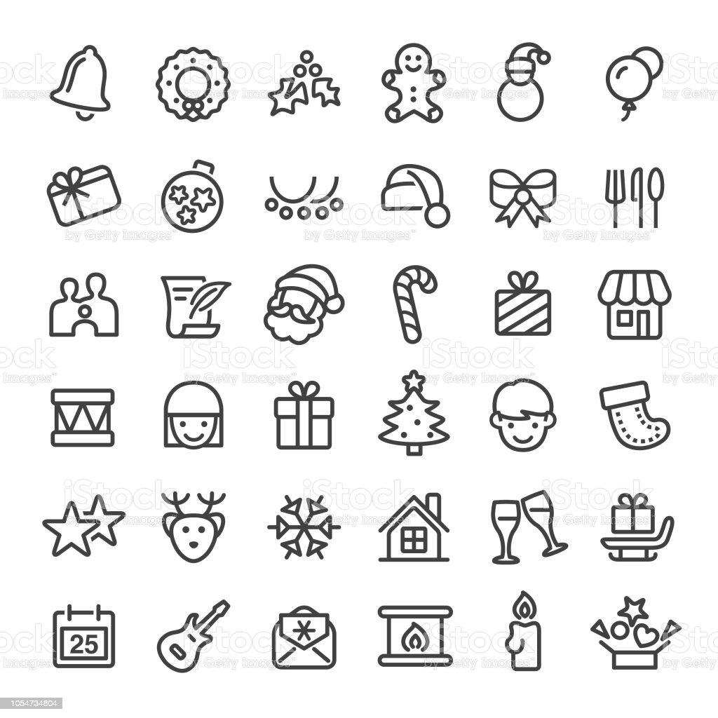 Kerst iconen - grote Line serievectorkunst illustratie