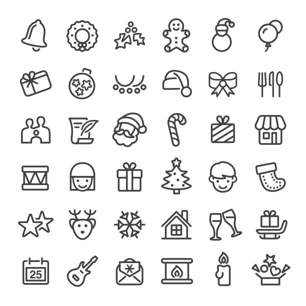 Christmas Icons - Big Line Series Christmas, Christmas Ornament, christmas icons stock illustrations