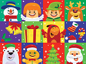 vector illustration of christmas icons / characters