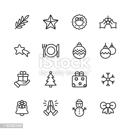16 Christmas Outline Icons.