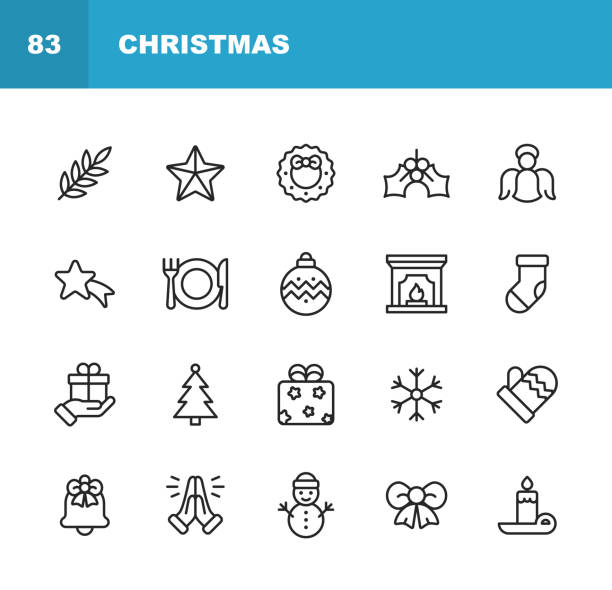 christmas icons. editable stroke. pixel perfect. for mobile and web. contains such icons as christmas, christmas decoration, santa claus, christmas gift, snowflake, winter, christmas hat, religion, church, celebration, snowman, glove, gift, praying. - holiday season stock illustrations