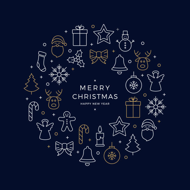 christmas icons elements wreath circle golden white blue background - christmas background stock illustrations