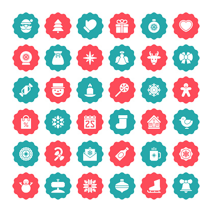 Christmas icons for winter holidays advertising and banners vector set