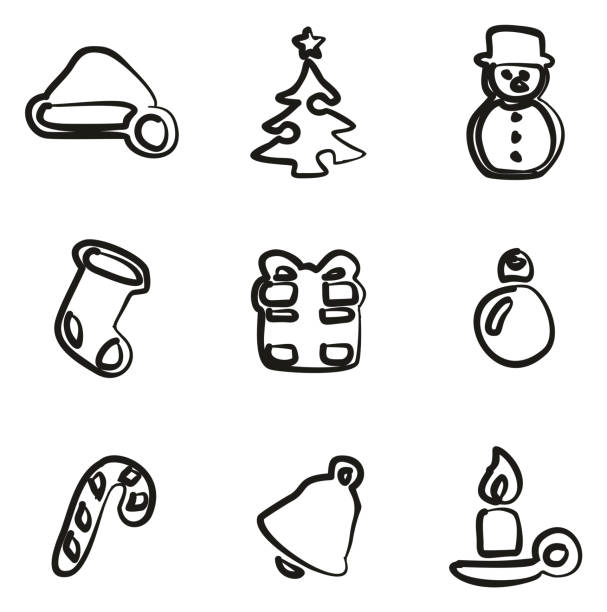 Christmas Icons Freehand vector art illustration