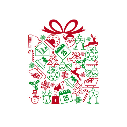 christmas icons in the form of a gift