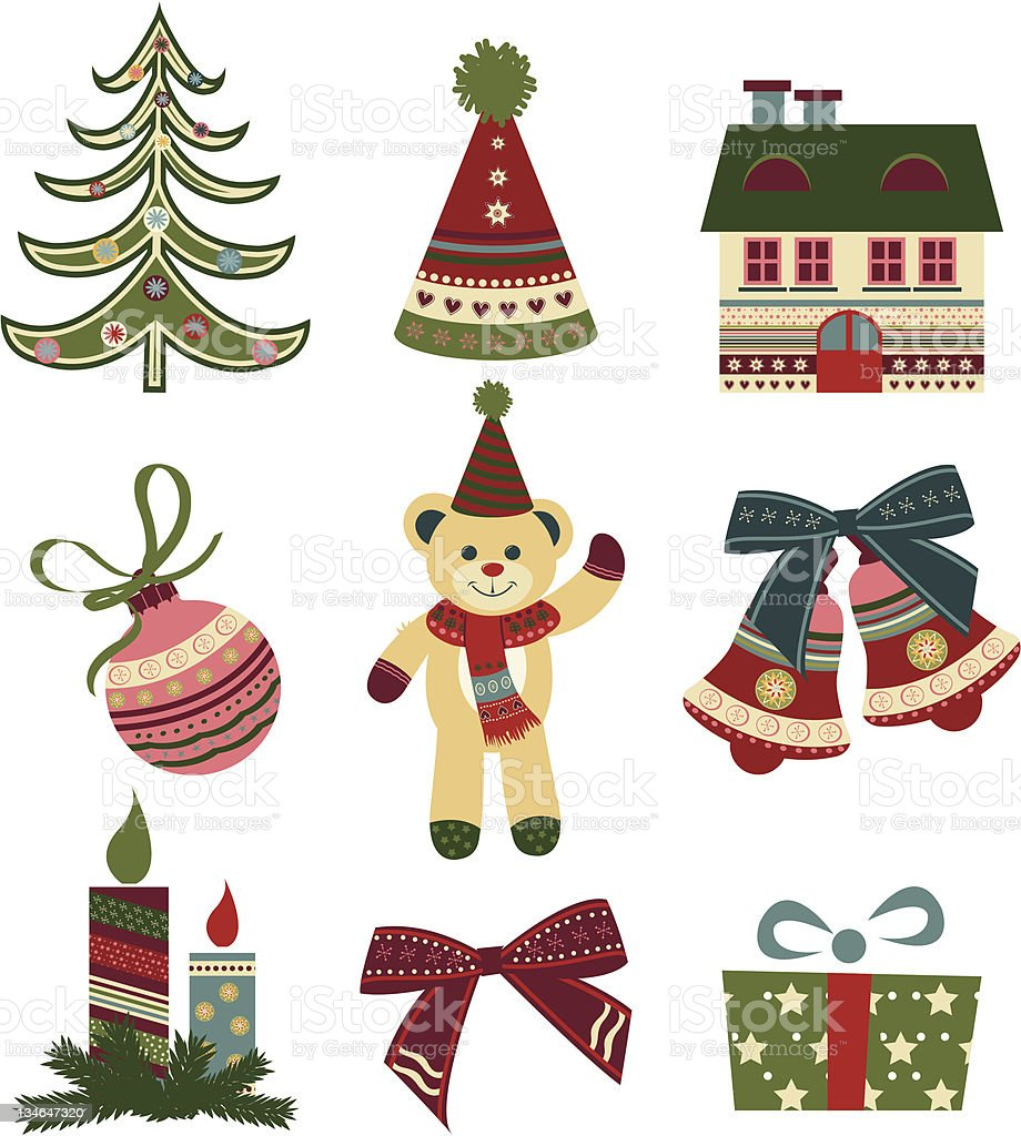 Christmas icons. Retro style royalty-free christmas icons retro style stock vector art & more images of bell