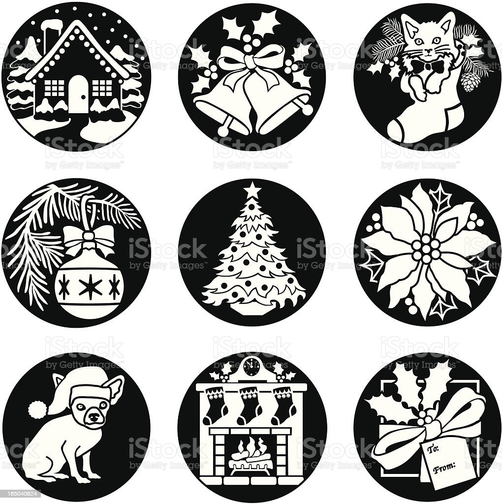 Christmas icons reversed royalty-free christmas icons reversed stock vector art & more images of animal