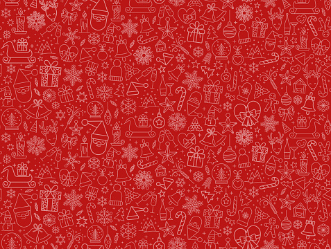 Christmas icons seamless pattern texture background including, snowflake,snowman, nut, gift box, reindeer,wood, sock and bells graphics