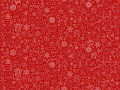 istock Christmas icons seamless pattern texture background including, snowflake,snowman, nut, gift box, reindeer,wood, sock and bells graphics 1250271474