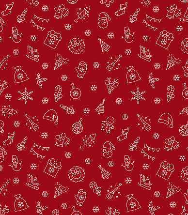 Christmas icons seamless pattern, xmas background, happy new year red background, merry christmas holiday pattern, eps 10.