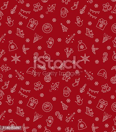 istock Christmas icons seamless pattern, xmas background, happy new year red background, merry christmas holiday pattern, eps 10. 1180453397