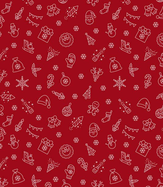 christmas icons seamless pattern, xmas background, happy new year red background, merry christmas holiday pattern, eps 10. - papier do pakowania stock illustrations