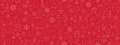 istock Christmas icons seamless pattern, xmas background, happy new year red background, merry christmas holiday pattern, eps 10 1270091444