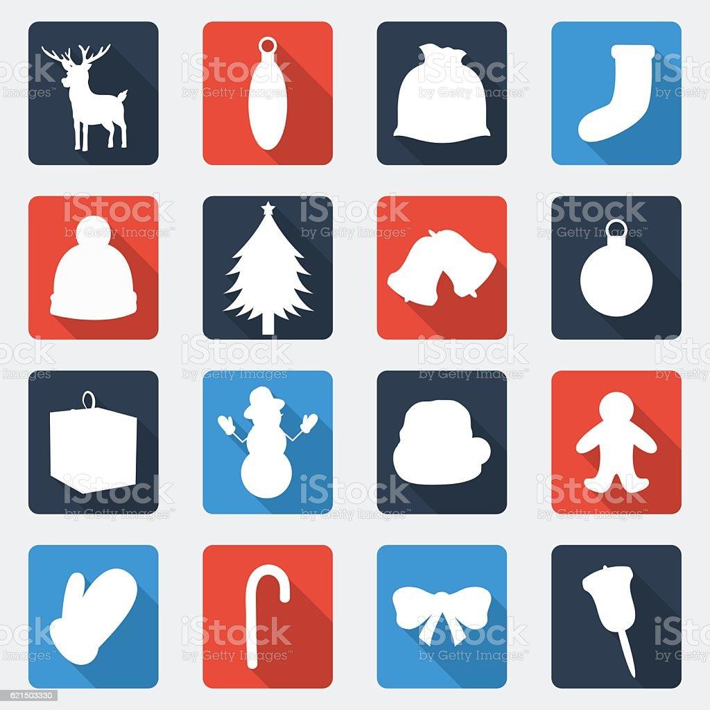 Christmas Icons set. Flat design. Vector christmas icons set flat design vector – cliparts vectoriels et plus d'images de adulte libre de droits