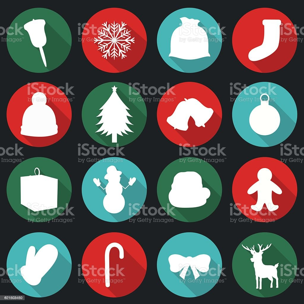 Christmas Icons set. Flat design. Vector christmas icons set flat design vector – cliparts vectoriels et plus d'images de arbre libre de droits
