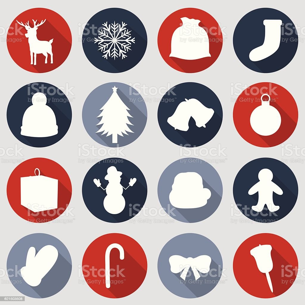 Christmas Icons set. Flat design. Vector christmas icons set flat design vector - immagini vettoriali stock e altre immagini di agrifoglio royalty-free