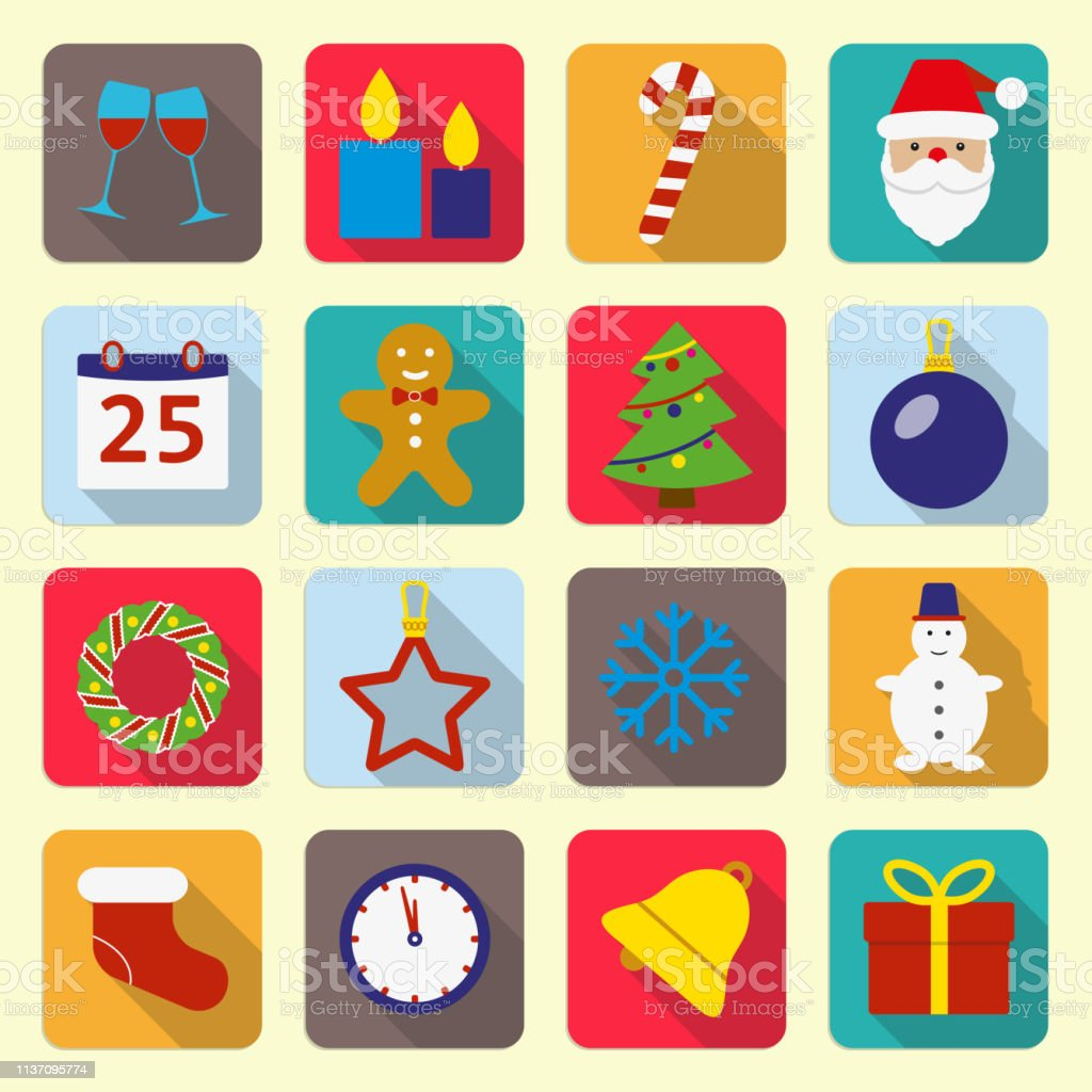 Christmas icons set. New Year and Christmas flat icons. Christmas...