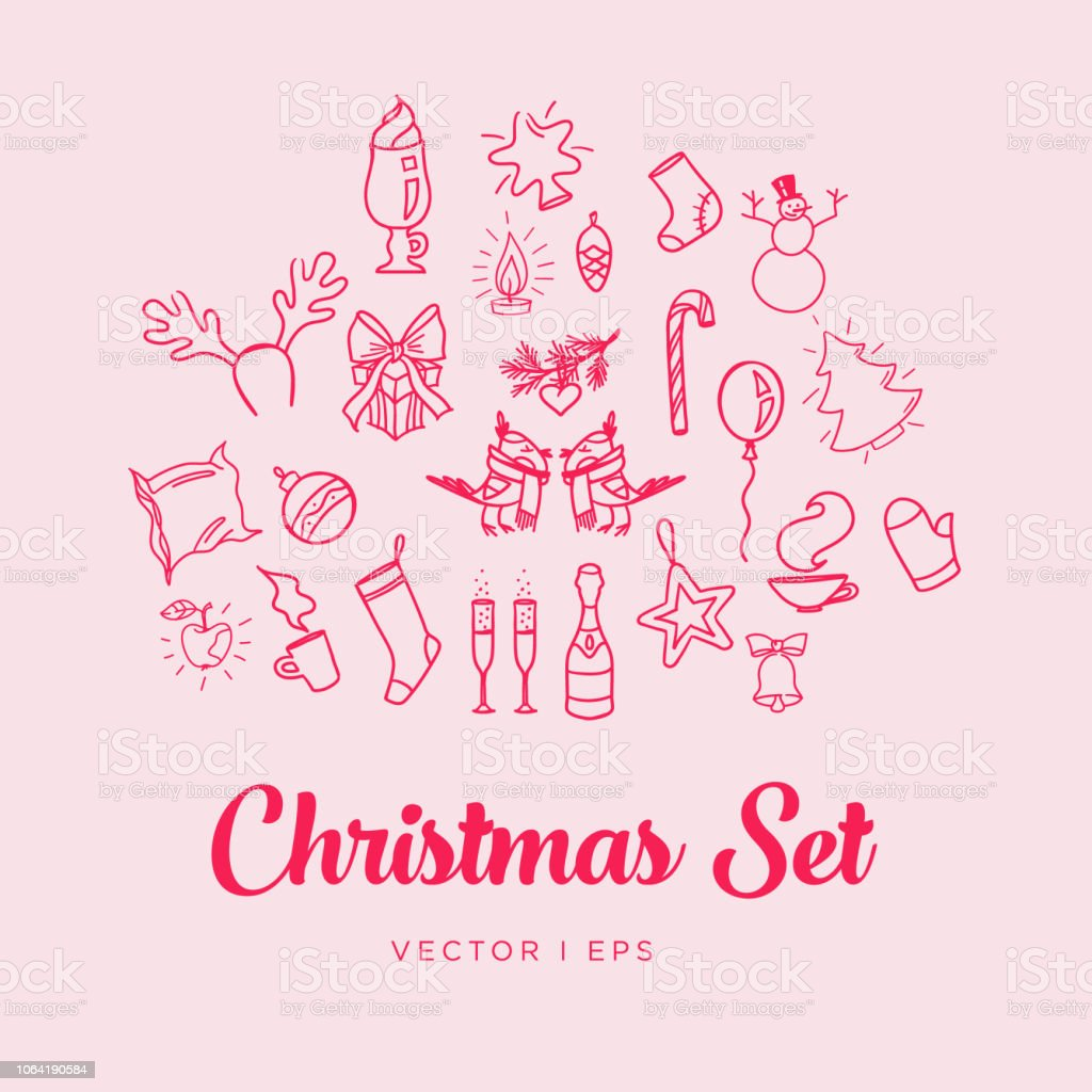 Christmas icons set. New Year objects, simple outline drawings. Greeting card decor elements template. Gift box, mitten, сhristmas toys, socks, star, deer horns, cappuccino cup, candy cane. vector art illustration