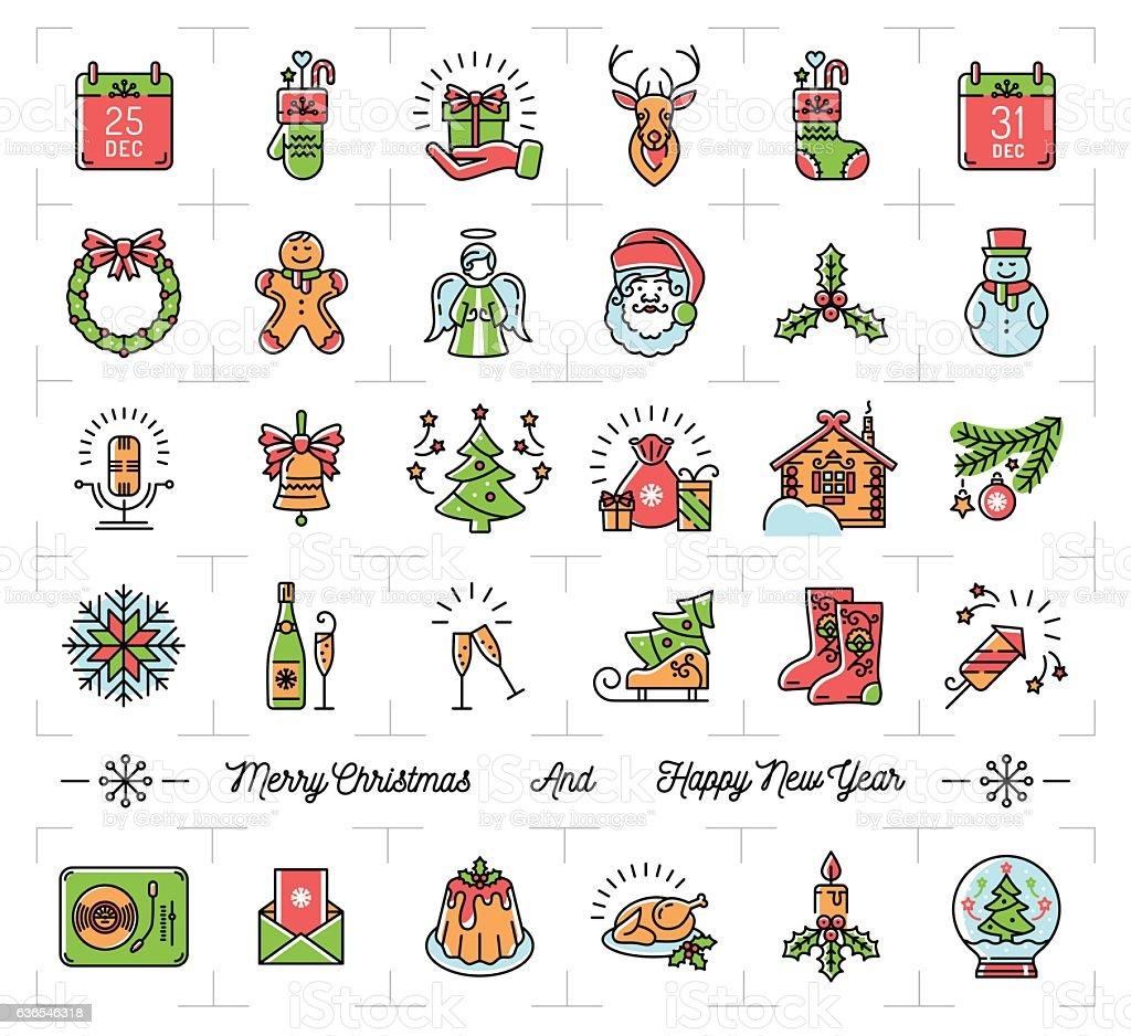 Christmas Icons Set New Year Symbols Winter Holiday Decoration