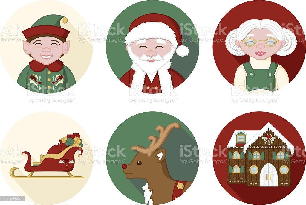 Christmas Icons - Set of 6 vector art illustration
