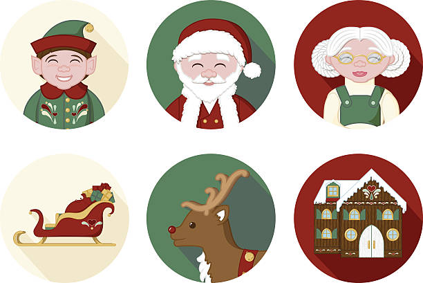 Christmas Icons - Set of 6 vector art illustration