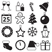 Christmas Icons set on White Background. New Year and Winter signs and symbols. Vector illustration.