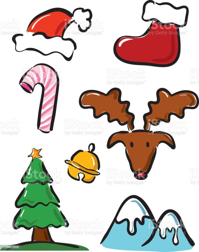 christmas icons set vector art illustration