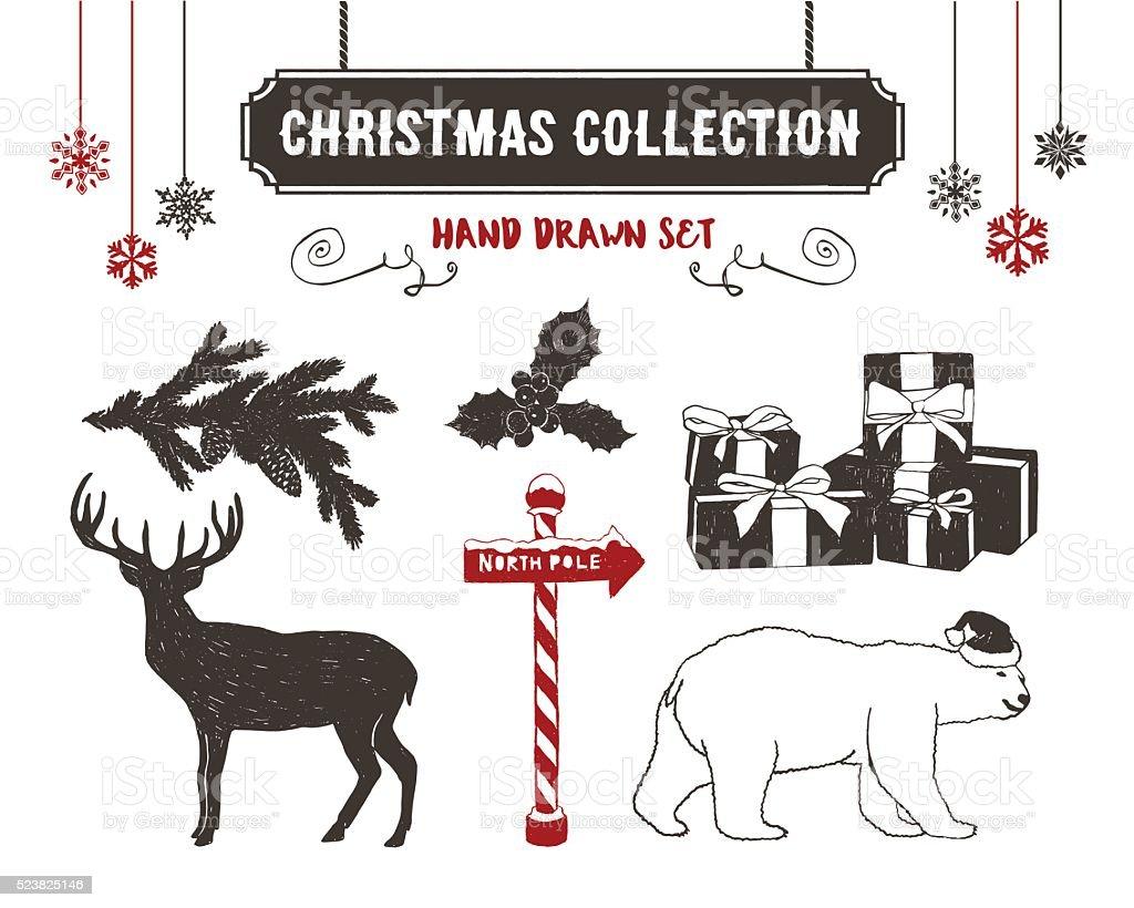 Christmas icons set. vector art illustration