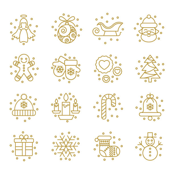 Christmas Icons Set - Vector Eps10 vector illustration with layers (removeable) and high resolution jpeg file included (300dpi). christmas icons stock illustrations