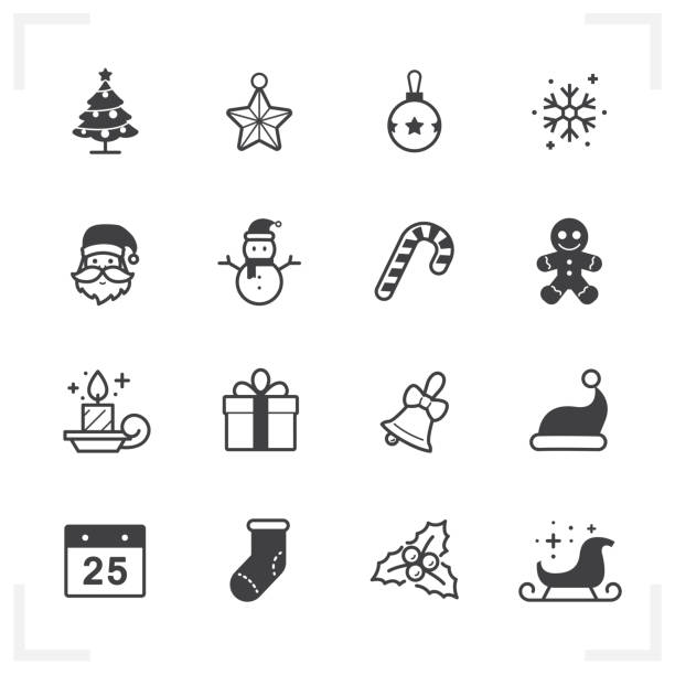 Christmas icons Christmas icons with White Background santa hat illustrations stock illustrations