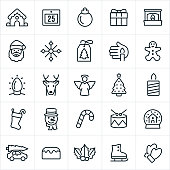 A set of Christmas Icons. The icons include a gingerbread house, calendar, ornament, gift, fire and fireplace, Santa Claus, snowflake, gift tag, candle, gingerbread man, Christmas lights, reindeer, Rudolph, angel, Christmas tree, Christmas stocking, snowman, candy cane, drums, snow globe, sweets, holly, ice-skate and mittens.