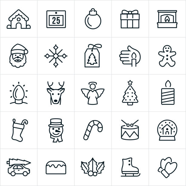 Christmas Icons A set of Christmas Icons. The icons include a gingerbread house, calendar, ornament, gift, fire and fireplace, Santa Claus, snowflake, gift tag, candle, gingerbread man, Christmas lights, reindeer, Rudolph, angel, Christmas tree, Christmas stocking, snowman, candy cane, drums, snow globe, sweets, holly, ice-skate and mittens. gingerbread man stock illustrations