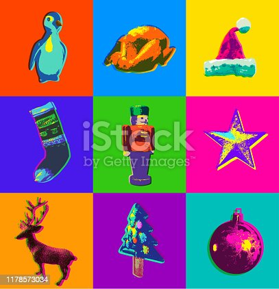 Posterised or Pop Art styled Christmas decorations and Icons