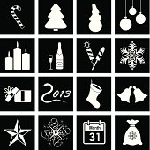 Vector icons on the theme of Christmas