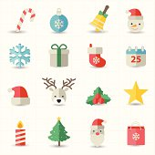 This image is a vector illustration Christmas icons
