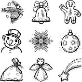 set of sketch-styled Christmas icons