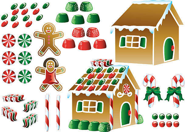 Christmas Icons Colorful christmas gingerbread house icons gum drop stock illustrations