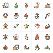 Vector illustration of a set of christmas icons.