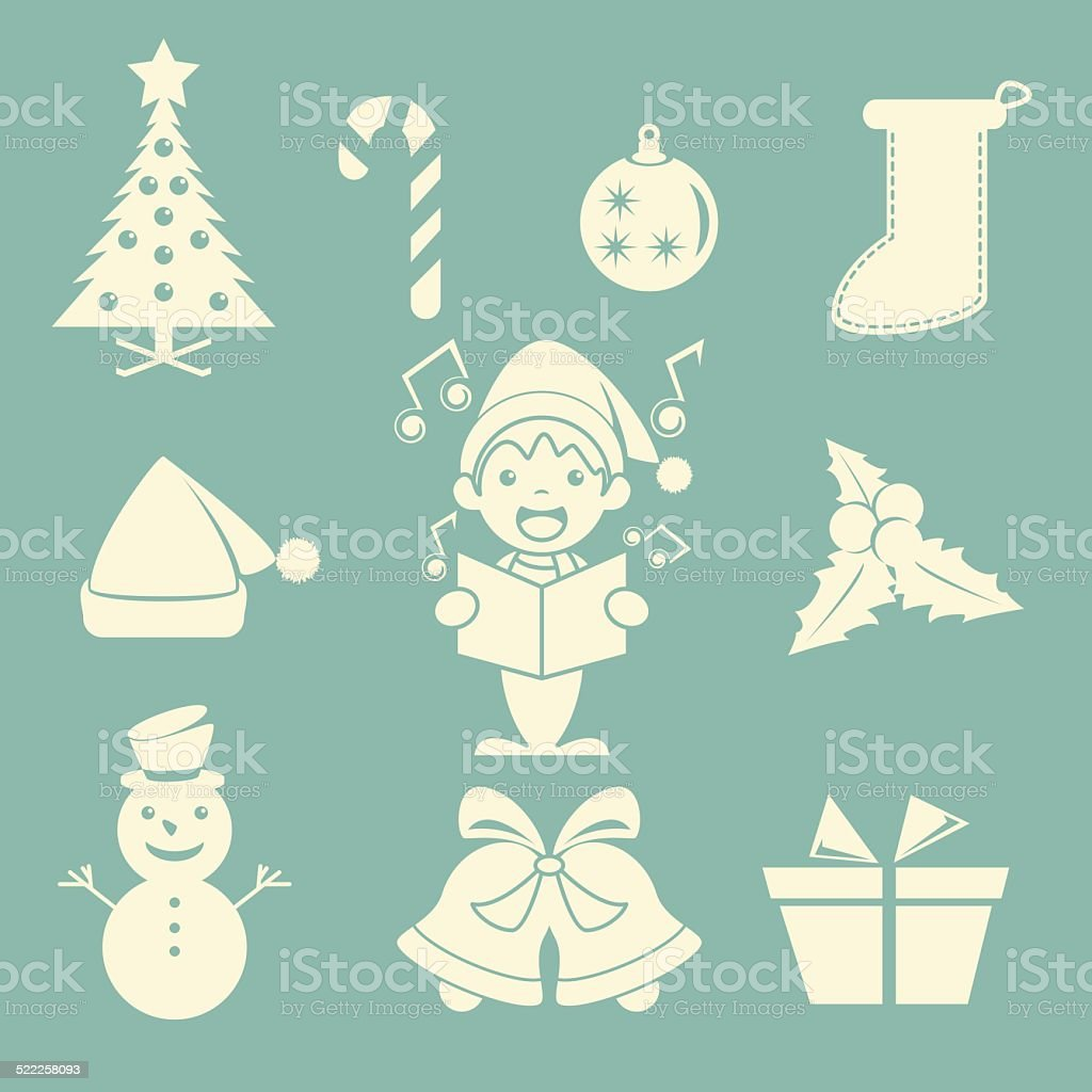 Christmas icons vector art illustration