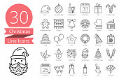 30 Christmas line icons, vector eps10 illustration