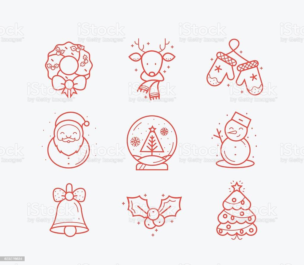 Ícones de Natal  - ilustração de arte em vetor