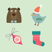 Christmas icons vector illustration.