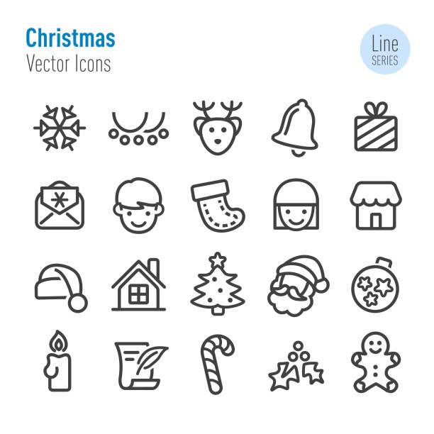 Christmas Icons - Vector Line Series Christmas, Christmas Ornament, Christmas Decoration, Holiday santa hat stock illustrations