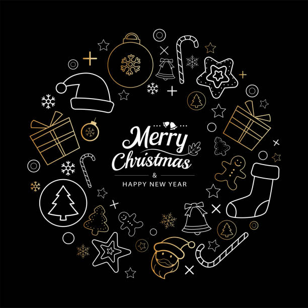 Christmas icons wreath circle in dark background. Use for element, greeting card, poster. vector art illustration